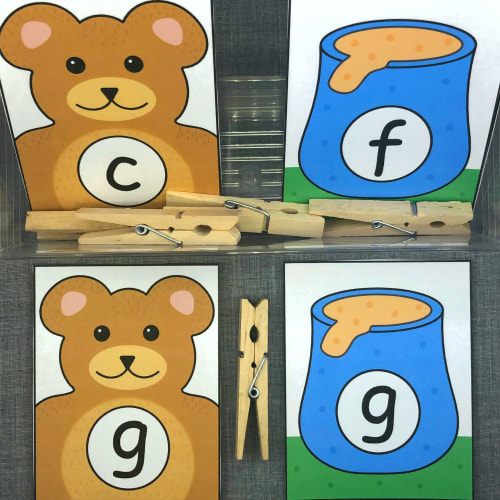 teddy bear alphabet match for preschool and kindergarten