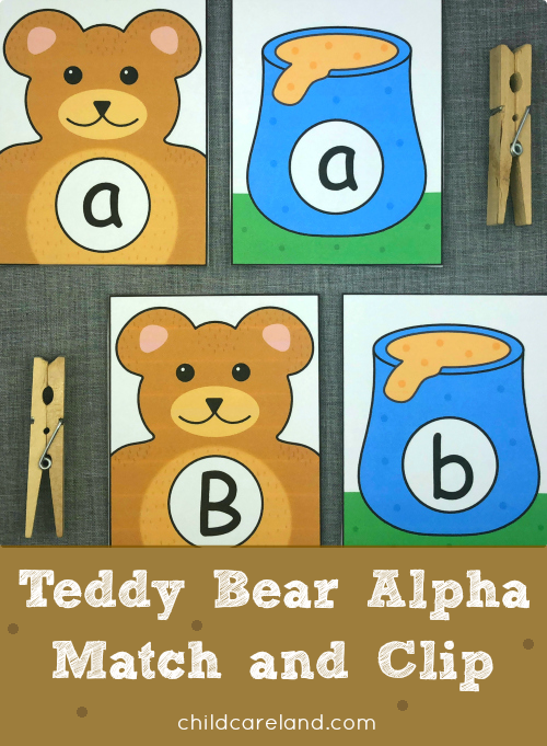 teddy bear alpha match and clip for preschool and kindergarten