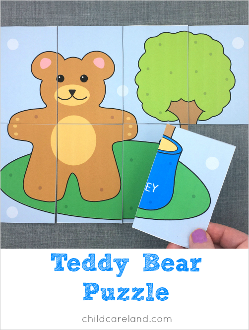 teddy bear puzzle for preschool and kindergarten