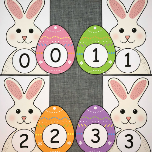 bunny number match for preschool and kindergarten