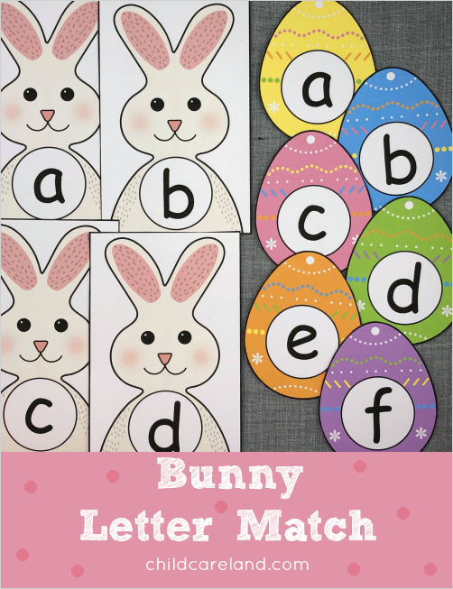 bunny letter match for preschool and kindergarten