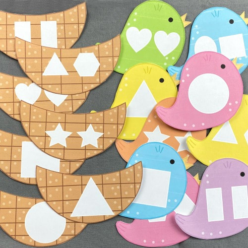 spring bird shape match for preschool and kindergarten