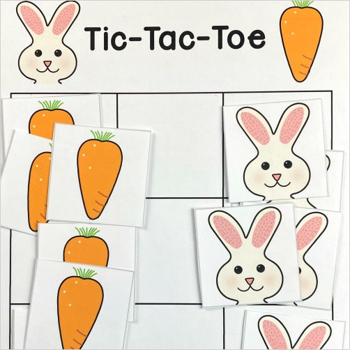 bunny tic-tac-toe for preschool and kindergarten