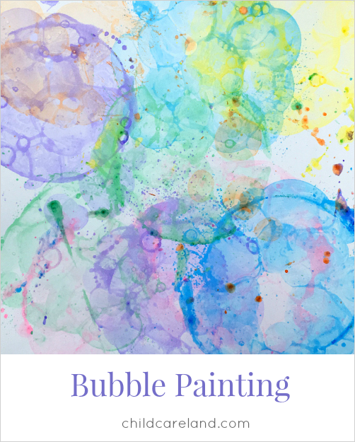 bubble painting for preschool art and kindergarten