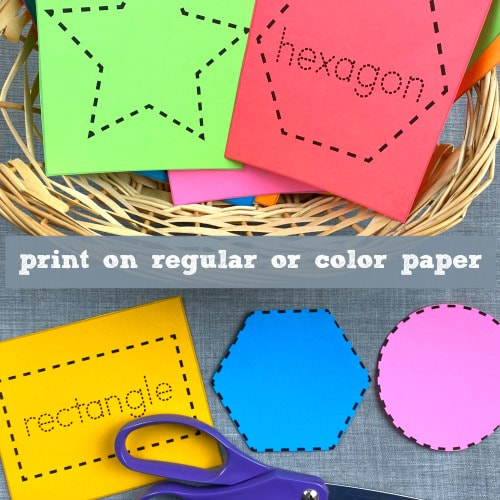 shape cutting cards for preschool and kindergarten fine motor skills