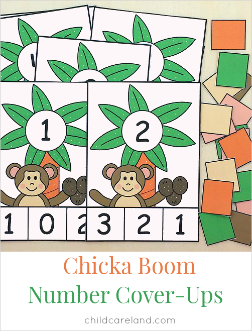 chicka chicka boom boom number cover-ups for preschool and kindergarten