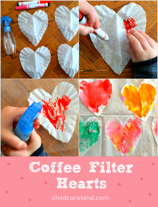 Coffee Filter Hearts Art Project For Preschool and Kindergarten