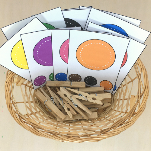 color clip cards for preschool and kindergarten