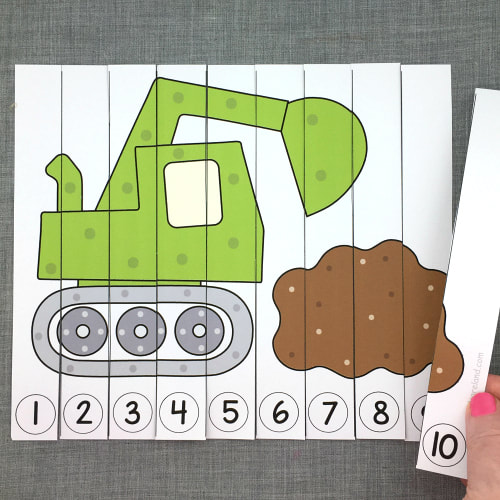digger number sequence puzzle for preschool and kindergarten