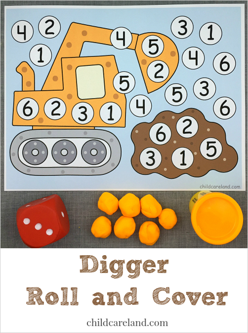 digger roll and cover for preschool and kindergarten math