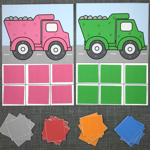 dump truck color sort for preschool and kindergarten