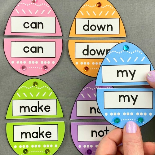 egg sight word puzzles