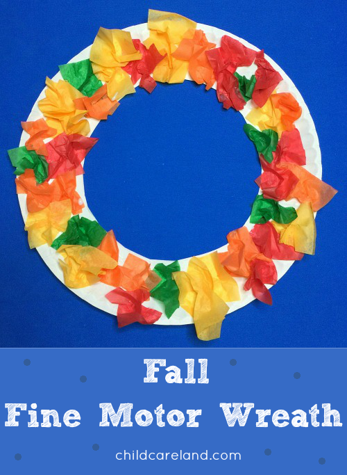 Fall Tissue Paper Wreath Preshool and Kindergarten Art Project