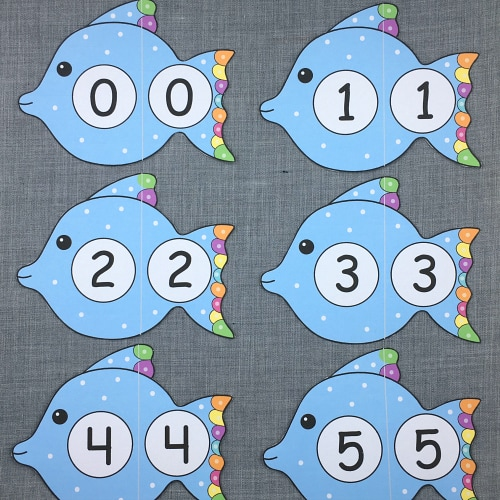 fish number puzzles for preschool and kindergarten