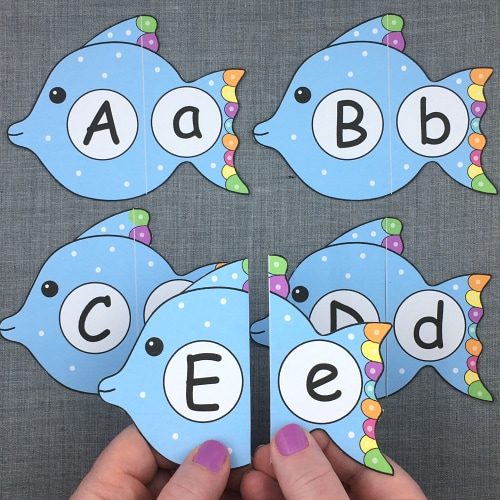 fish alphabet puzzles for preschool and kindergarten