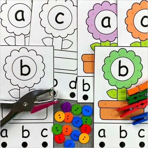 flower alphabet punch cards for preschool and kindergarten