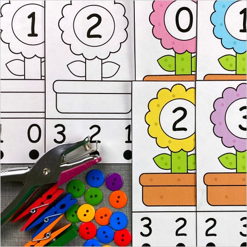 flower number punch for preschool and kindergarten