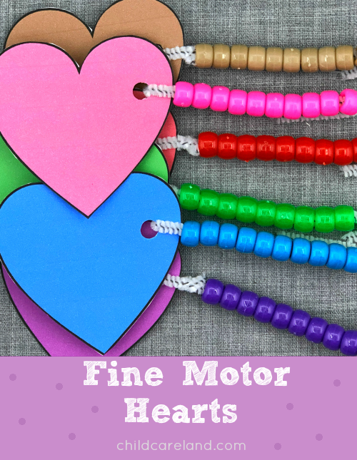 fine motor hearts lacing activity for preschool and kindergarten