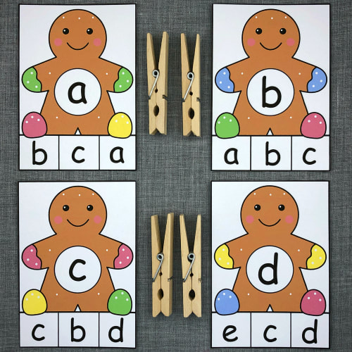 gingerbread alphabet clip for preschool and kindergarten