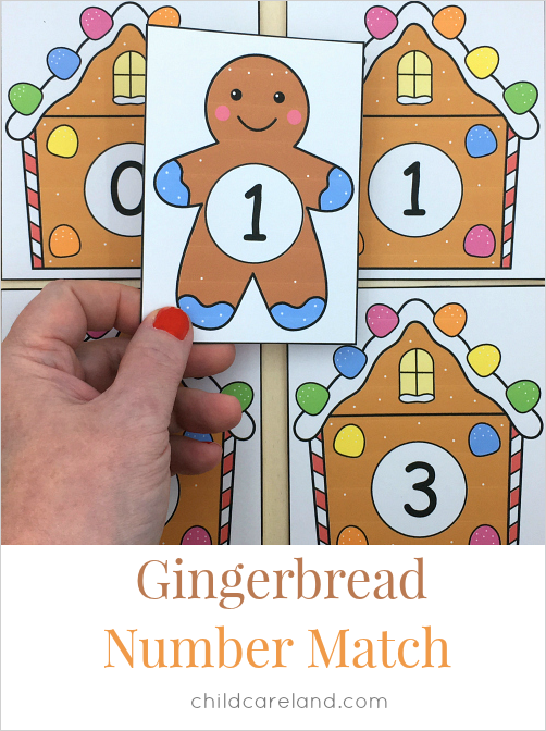 gingerbread number match for preschool and kindergarten