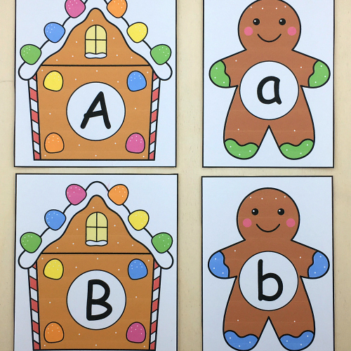 gingerbread alphabet match for preschool and kindergarten