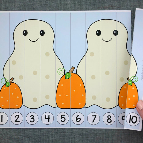 ghost number sequence puzzles for preschool and kindergarten