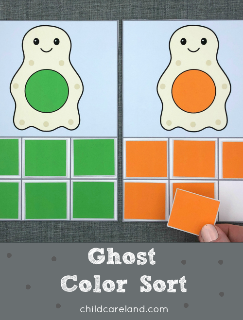 ghost color sort for preschool and kindergarten