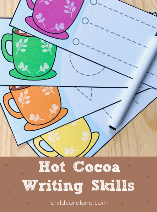 hot cocoa writing skills for preschool and kindergarten