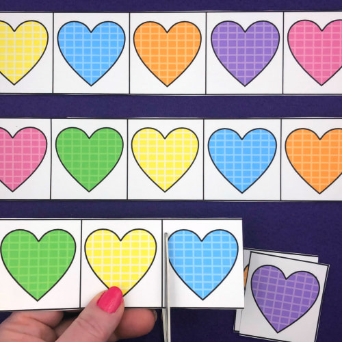 heart cutting strips for preschool and kindergarten