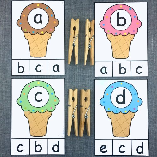 ice cream alphabet clip for preschool and kindergarten