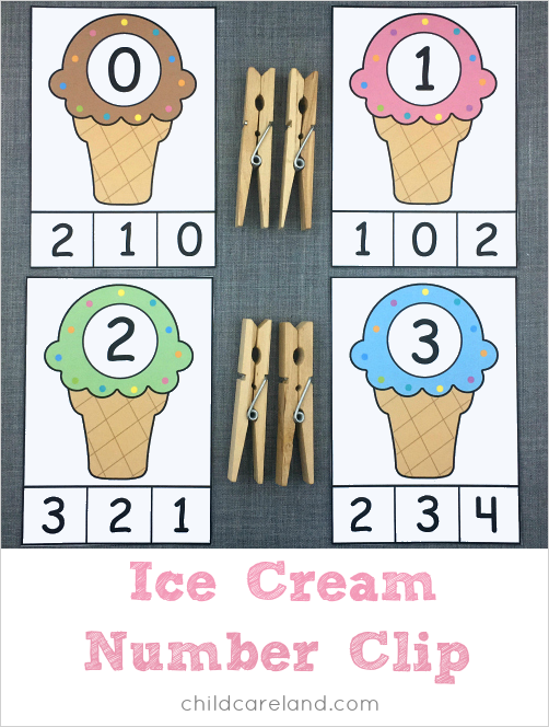 ice cream number clip for preschool and kindergarten