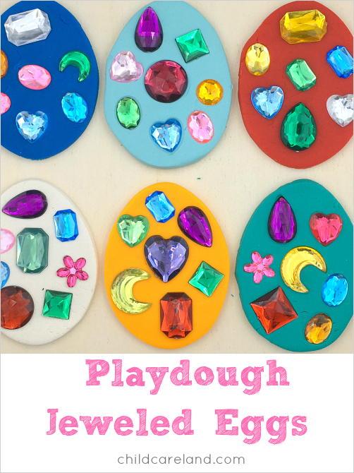 playdough jeweled eggs for preschool and kindergarten