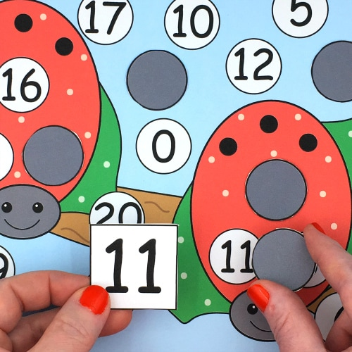 ladybug number pick and cover for preschool and kindergarten