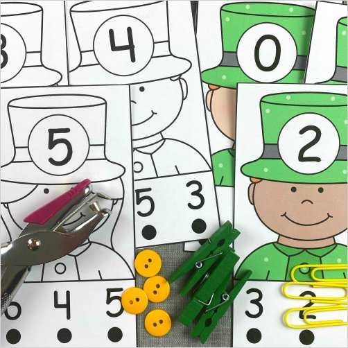 leprechaun number match cards for preschool and kindergarten