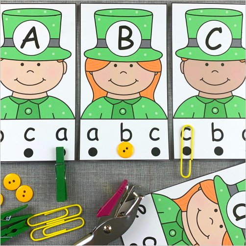 leprechaun alphabet punch cards for preschool and kindergarten