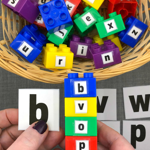 lego fine motor letter stacking for preschool and kindergarten