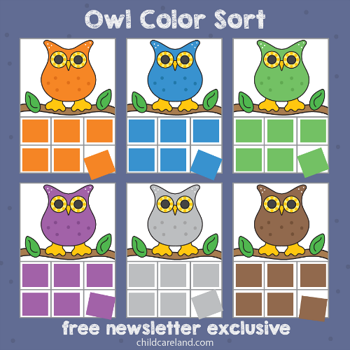 owl color sort for preschool and kindergarten