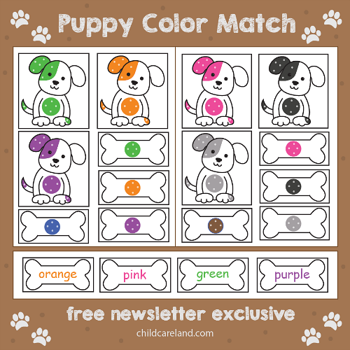 puppy color match for preschool and kindergarten