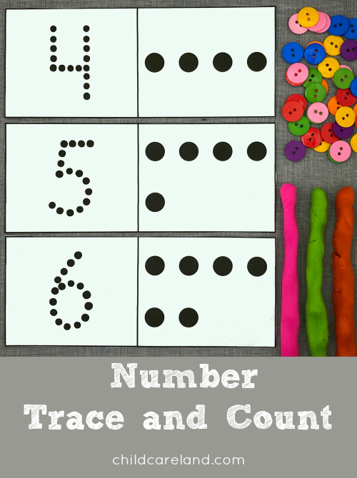 number trace and count for preschool and kindergarten