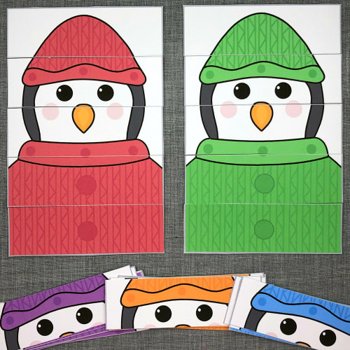 penguin color puzzles for preschool and kindergarten