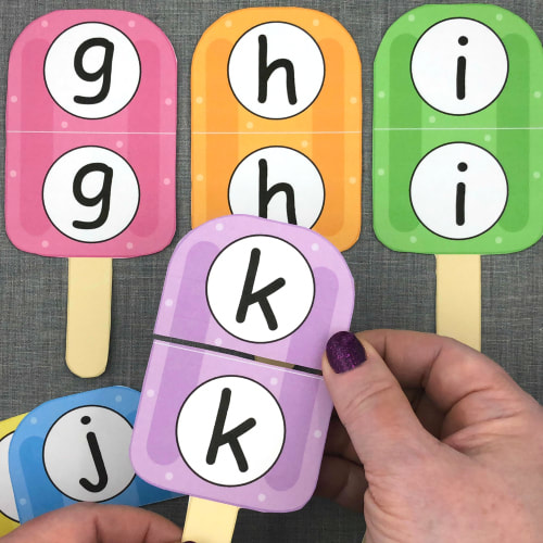 popsicle letter puzzles for preschool and kindergarten