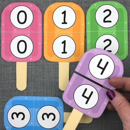 popsicle number puzzles for preschool and kindergarten
