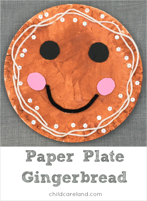 paper plate gingerbread craft for preschool and kindergarten