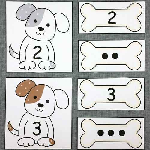 puppy number match for preschool and kindergarten