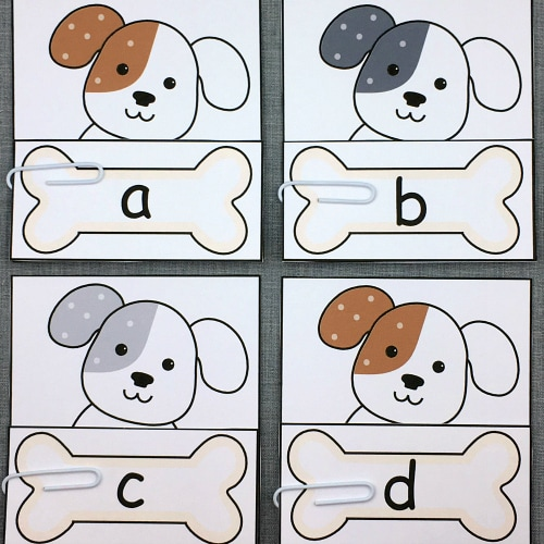 puppy alphabet match for preschool and kindergarten