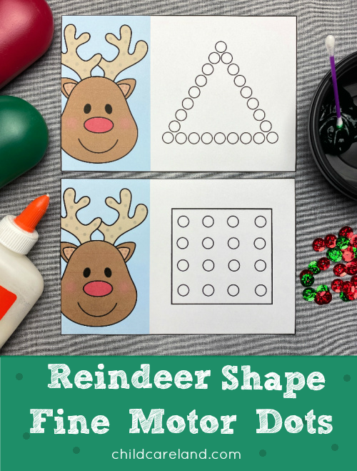 reindeer fine motor shape dots for preschool and kindergarten