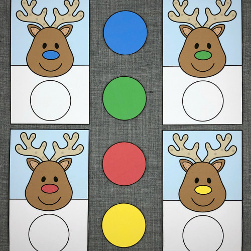 reindeer color match for preschool and kindergarten