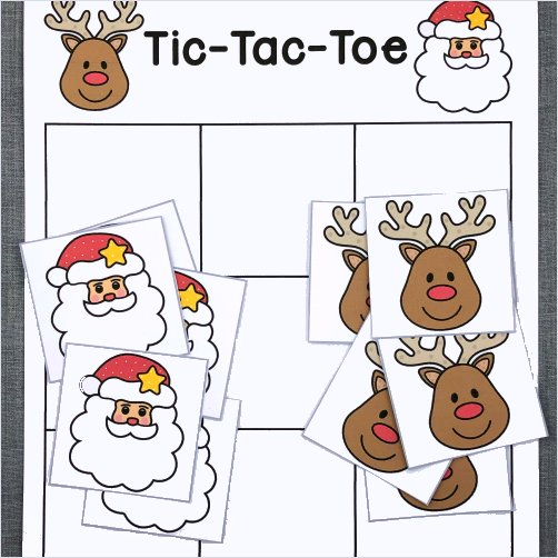reindeer tic-tac-toe game for preschool and kindergarten