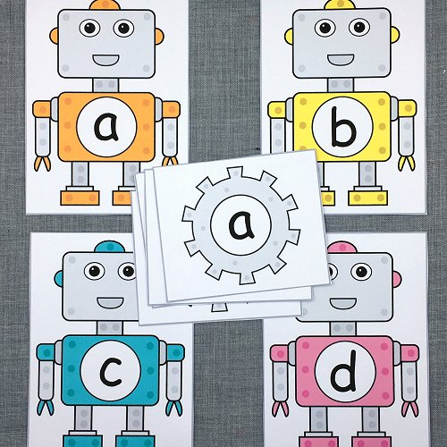 robot alphabet match for preschool and kindergarten