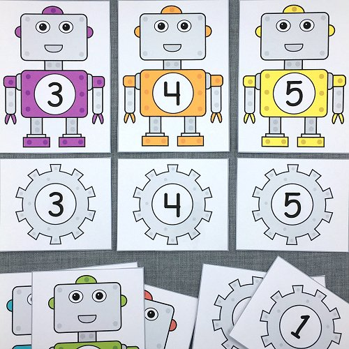 robot number match for preschool and kindergarten